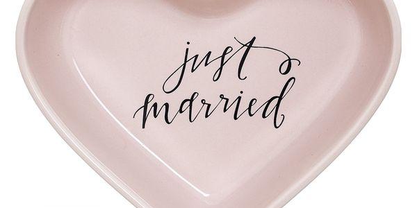Bloomingville Keramická miska ve tvaru srdce Summer, růžová barva, keramika