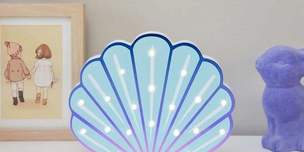 Smiling Faces Svítící LED mušle, multi barva, dřevo