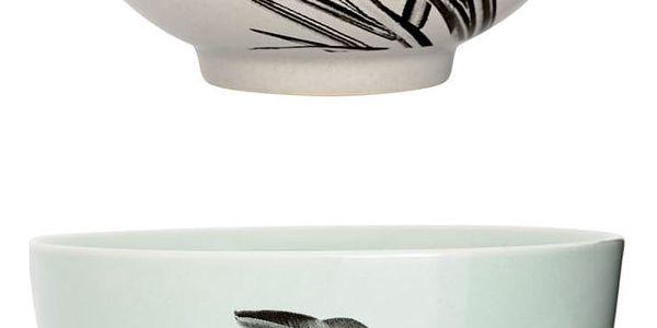 Bloomingville Keramická miska Sooji Kim Mint, zelená barva, šedá barva, keramika