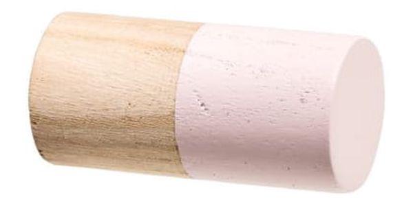 Bloomingville Dřevěný háček Nature Růžový, růžová barva, šedá barva, bílá barva, dřevo