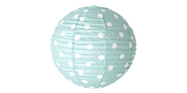 Bloomingville Závěsná papírová lampa Mint/Dot, modrá barva, kov, papír