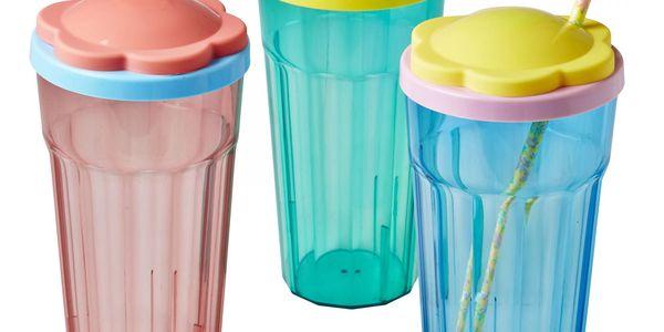 rice Plastová sklenice s víčkem Flower Modrá, růžová barva, modrá barva, zelená barva, plast