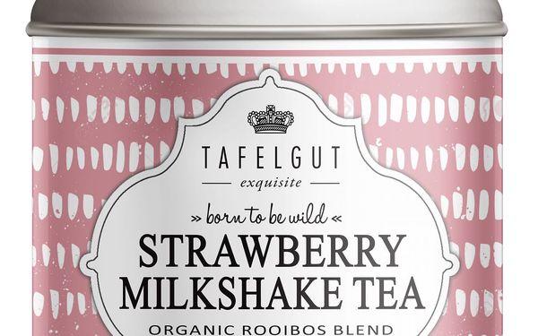 TAFELGUT BIO rooibos čaj Strawberry Milkshake Tea - 100gr, růžová barva, kov