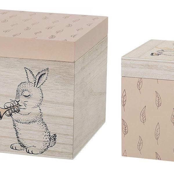 Bloomingville Úložný box Rose - set 2ks, růžová barva, hnědá barva, dřevo