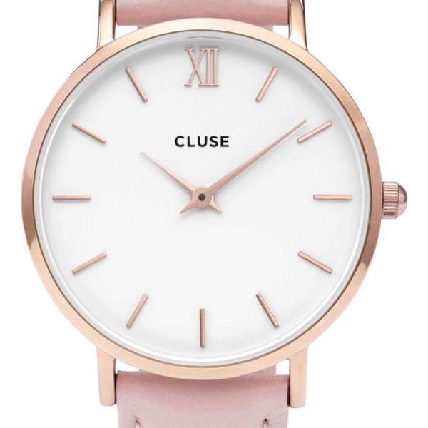 CLUSE Hodinky Cluse Minuit Rose Gold white/pink, růžová barva, bílá barva, sklo, kov, kůže