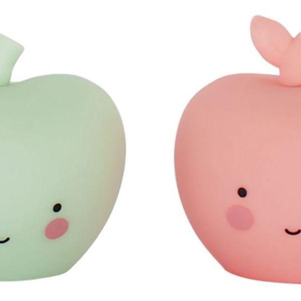 A Little Lovely Company Mini plastová figurka Apple - 2 ks, růžová barva, zelená barva, plast
