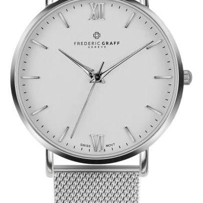 Unisex hodinky s páskem z nerezové oceli ve stříbrné barvě Frederic Graff Silver Dent Blanche Silver Mesh