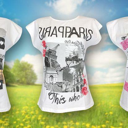 Dámská bavlněná trička ze 100% bavlny s potiskem