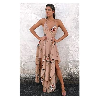 Asymetrické šaty s květinovým vzorem - 2 barvy