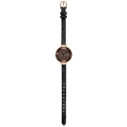 Dámské černé hodinky s koženým řemínkem Rumbatime SoHo Metallic