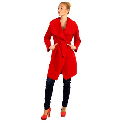 Dlouhý kabát - kardigan s páskem červená
