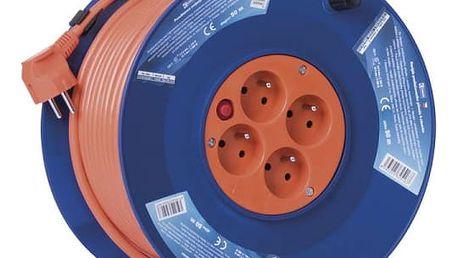 Kabel prodlužovací na bubnu EMOS 4x zásuvka, 50m oranžový (1908045001)