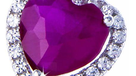 Stříbrný přívěšek tvar srdce, rudý krystal