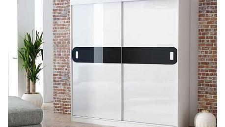 Šatní skříň 180 cm LAGO korpus matná bílá, dveře lesklá bílá