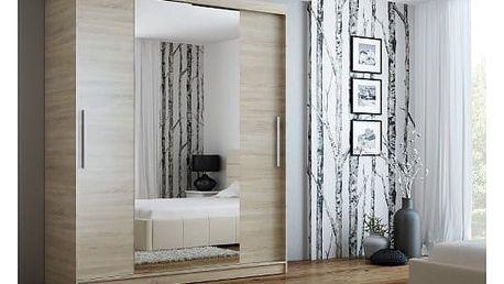 Šatní skříň se zrcadlem 180 cm NELA dub sonoma