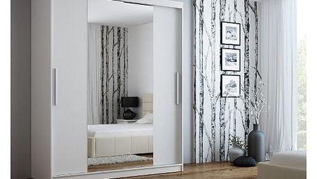 Šatní skříň se zrcadlem 180 cm NELA bílá