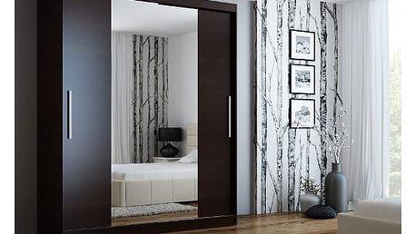 Šatní skříň se zrcadlem 180 cm NELA wenge