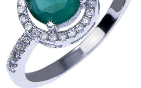 Stříbrný prsten, bílé a zelené krystalky