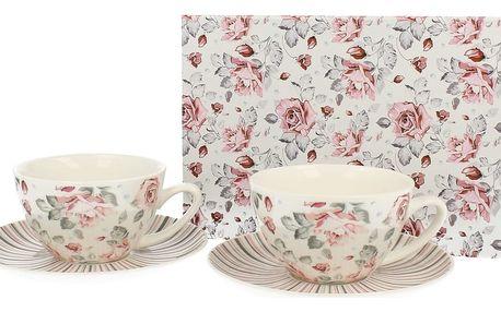 Sada 2 porcelánových šálků Duo Gift Růžička, 250 ml