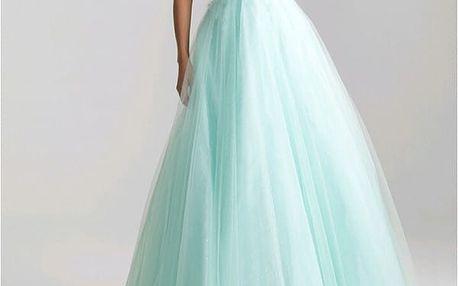 Dlouhé dámské šaty bez ramínek v mintové barvě