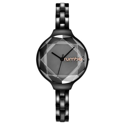Dámské černé hodinky s kovovým páskem Rumbatime Orchard