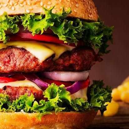 XXL burger z poctivých surovin a domácí hranolky