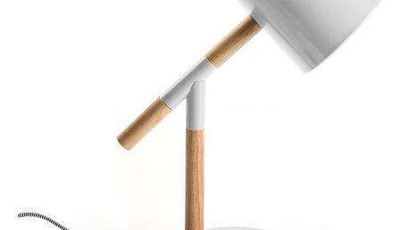Bílá stolní lampa s dřevěnými detaily Versa