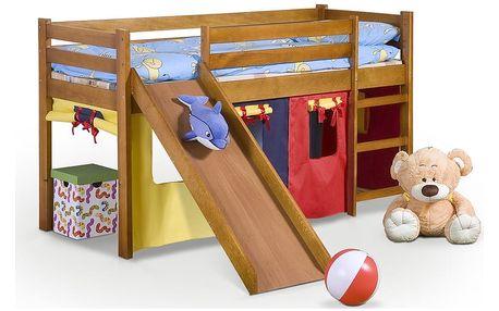 Dětská patrová postel se skluzavkou Neo Plus Halmar