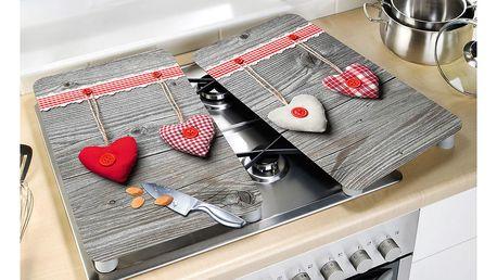 Ochranné skleněné desky na sporák HEARTS - 2 kusy, WENKO