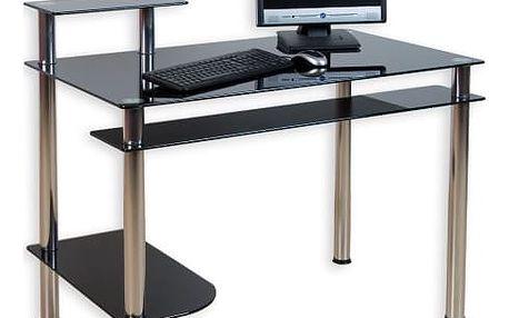 Tuin KLASIK 1433 Skleněný kancelářský stůl na počítač černý