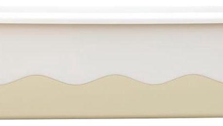 Plastia Samozavlažovací truhlík Mareta 60 cm, slonová kost světlá + tmavá