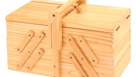 Dřevěný box na šicí potřeby - klasický s 5 přihrádkami Emako