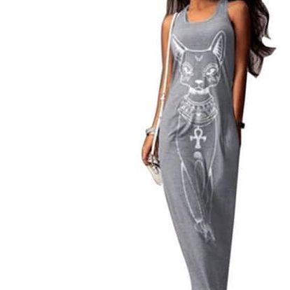 Dámské dlouhé šaty s potiskem egyptské kočky - 3 barvy
