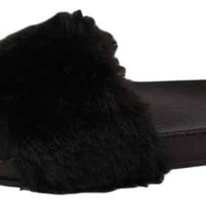 Dámské pantofle s kožíškem černé