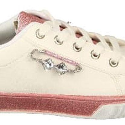 Dámské FASHION tenisky s lesklými prvky bílo/růžové