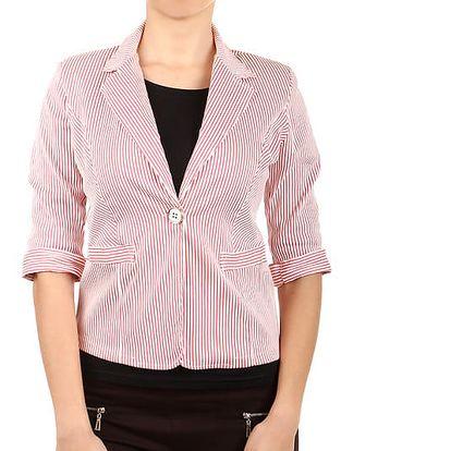 Dámské sako s růžovou proužkou růžová