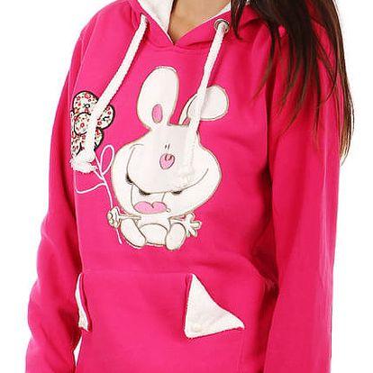 Dámská mikina s obrázkem a ušima na kapuci růžová