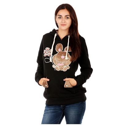 Dámská mikina s obrázkem a ušima na kapuci černá