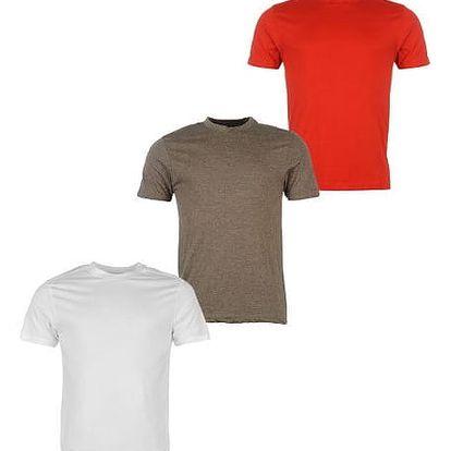 Sada 3 značkových triček DONNAY bílá/hnědá/červená