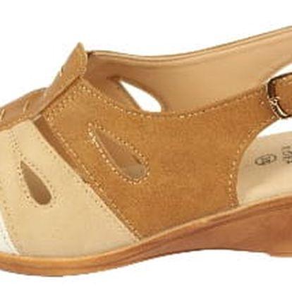 Dámské zdravotní sandále na klínku KOKA 11 beige