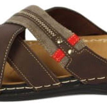 Pánské pantofle KOKA vzor 1 hnědé