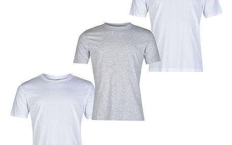 Sada 3 značkových triček DONNAY bílá/šedá/bílá