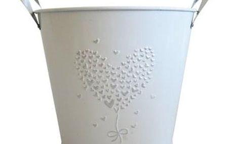 Květináč Stardeco plechový bílý střední 16x18cm