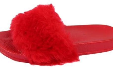 Dámské pantofle s kožíškem červené