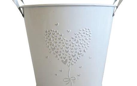 StarDeco Plechový květináč bílá, 18 cm