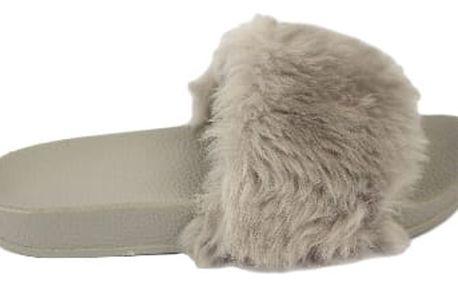 Dámské pantofle s kožíškem šedé
