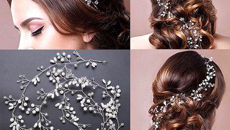 Svatební ozdoba do vlasů - Girlanda velká s krystalky a perly