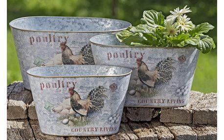 Sada 3 zahradních kovových květináčů Boltze Poultry