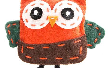 Fashion Icon Brož sova oranžová tkanina HAND MADE ruční práce