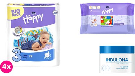 4x BELLA HAPPY Midi 3 pleny (5-9 kg) 72 ks + Indulona Tělový krém 250 ml + Happy Wipes 24 ks